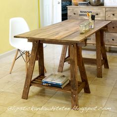 DIY Rustic Desk with Stained IKEA Legs. A pretty simple DIY that I might do this summer and use this as a table/ desk when I move out.