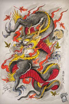 Dragon Tattoo Sketch, Dragon Tattoo Designs, Traditional Japanese Dragon, Japanese Art, Japan Tattoo, Rock Tattoo, Aztec Wallpaper, Dragon Illustration, Japanese Dragon Tattoos
