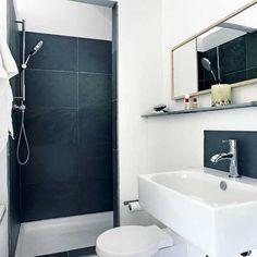 Bathroom: Small Bathroom Design Ideas On A Budget, bathroom design tool, interior bathroom design ~ ModernHomePalmSprings Small Shower Room, Small Showers, Bad Inspiration, Bathroom Inspiration, Contemporary Bathrooms, Modern Bathroom, Compact Bathroom, Simple Bathroom, Gray Shower Curtains