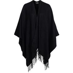 Glamorous Classic Poncho (4285 RSD) ❤ liked on Polyvore featuring outerwear, jackets, cape, coats, black, womens-fashion, black fringe poncho, cape coat, black poncho and fringe poncho