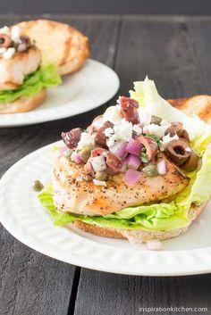 Grilled Chicken Sandwich Kalamata Tapenade   Inspiration Kitchen  #chicken #sandwich #kalamata #tapenade #recipe