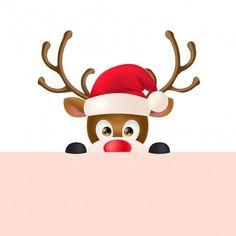Rena em santa hat peeping out Vetor grát. Christmas Drawing, Christmas Art, Christmas And New Year, Vintage Christmas, Christmas Decorations, Hygge Christmas, New Year Images Hd, Happy New Year Pictures, Christmas Clipart