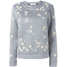 Valentino beaded daisy sweatshirt (€1.620) ❤ liked on Polyvore featuring tops, hoodies, sweatshirts, grey, gray top, sweatshirts hoodies, long sleeve sweatshirt, daisy top and sweat shirts