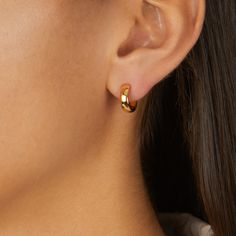 These mini hoop earrings are perfect for an understated elegant look. The hoops measure a drop of and a width of Elegant and contemporary in their circle design, the earrings are very versatile. Small Gold Hoops, Small Gold Hoop Earrings, Mini Hoop Earrings, Gold Earrings Designs, Emerald Earrings, Tiny Gold Hoop Earrings, Dangle Earrings, Pendant Necklace, Simple Earrings