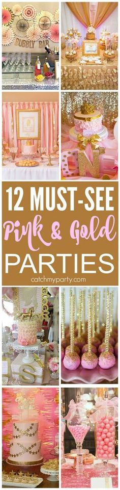 12 Must-See Pink and Gold Birthday Parties! There are ideas for bridal showers, . 12 Must-See Pink and Gold Birthday Parties! There are ideas for bridal showers, baby showers, b Pink Gold Party, Pink And Gold Birthday Party, 18th Birthday Party, Baby Girl Birthday, Birthday Party Themes, Cake Birthday, Golden Birthday, 21st Party, Princess Birthday