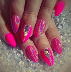 Neon Pink nails