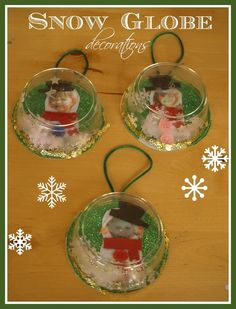 CUTE Christmas ornaments to make with the kids - mini snow globes with a snow man inside using their photo. by sarahx