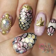 Beautiful nail art designs that are just too cute to resist. It's time to try out something new with your nail art. Fancy Nails, Love Nails, How To Do Nails, Pretty Nails, My Nails, Style Nails, Dream Nails, Pink Nails, Little Mermaid Nail Art