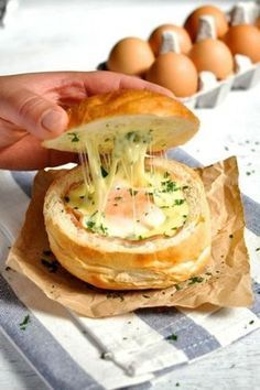No Washing UP Ham, Egg & Cheese Bread Bowls from RecipeTin Eats as part of the Friday Five - Eggs Addition - Feed Your Soul Too Egg Recipes, Brunch Recipes, Breakfast Recipes, Cooking Recipes, Breakfast Ideas, Cheese Recipes, Healthy Recipes, Snacks Recipes, Breakfast Bread Bowl Recipe
