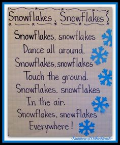 Winter Rhymes, Poems, Anchor Charts and Pocket Charts for Kindergarten and Grade. Penguin Anchor Chart Rhymes too! Winter Fun, Winter Theme, Snow Theme, Winter Ideas, Winter Activities, Preschool Activities, Preschool Transitions, Preschool Winter Songs, Preschool Poems
