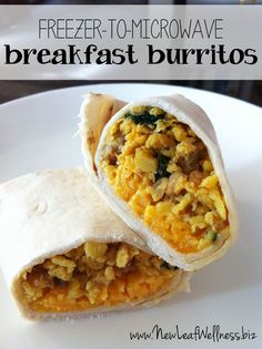Freezer-to-Microwave Breakfast Burritos. This recipe makes 16 sausage, spinach, egg, and cheese burritos for your freezer. Defrost one at a time in the microwave. Easy and delicious!