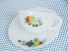 Arcopal milk glass cup and saucer, fruits de france print, tea cup, coffee cup, apple print by JoorVintageTreasures on Etsy