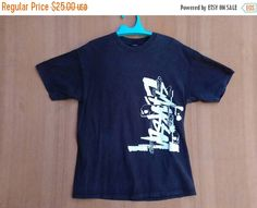 CHRISTMAS 25% Vintage 90s Stussy International Stussy A.C Hip Hop Swag Skate Surf Punk Rock Ringspun T-Shirt sz M Made In Usa tee Shirt