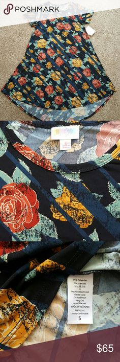 LuLaRoe floral stripes Carly Small NWT Small Carly with black and navy diagonal stripes and roses in red, gold and seafoam. Slinky material feel. LuLaRoe Dresses