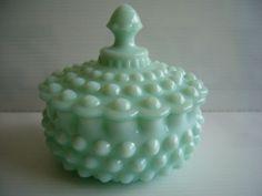 RARE Fenton Mint Green Pastel Milk Glass Hobnail Covered Candy Dish Jar Bowl | eBay