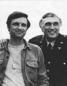 Alan Alda (Hawkeye) and his father on the set of MASH