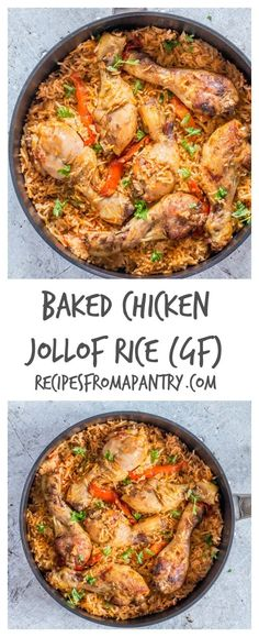 This easy gluten-free chicken Jollof rice is made with chicken. This easy gluten-free chicken Jollof rice is made with chicken tomatoes peppers and rice. Rice Recipes, Lunch Recipes, Appetizer Recipes, Chicken Recipes, Breakfast Recipes, Dinner Recipes, Cooking Recipes, Healthy Recipes, Recipe Chicken