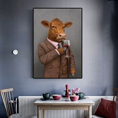 """""""Cat Dog Cow Portrait Vintage Wall Art Canvas Painting Nordic Posters And Prints Wall Pictures For Living Room Home Wall Decora"""" Dog Canvas Painting, Ink Painting, Painting Frames, Canvas Wall Art, Canvas Prints, Wall Pictures, Living Room Pictures, Vintage Wall Art, Vintage Walls"""