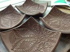 handbuilding pottery ideas | Love Sown: Hand Building Projects like the way the lace only covers part of the suare.