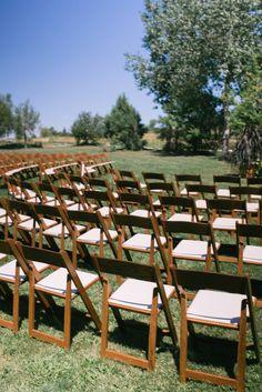 Soft Al Fresco Nuptials in a Colorado Meadow | Boulder | wood garden chairs