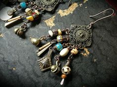 Gypsy dangle earrings with tribal bead dangles in bone by quisnam, $35.00