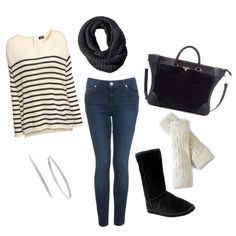 Black and Cream outfit with leg warmers fall winter outfit