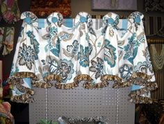 #windowtreatments Our Lancaster #valance in a blue & gray linen floral with a great ribbon fringe at the bottom.