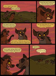 Page 19. Introducing Najah and Fauzi, the leaders of the hyena clan. I'm slowly starting to like drawing hyenas... Previous page: Next page: Characters seen on this page (c) me Please, don't use my...