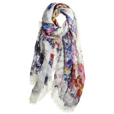 FRANCO FERRARI Orchid Modal Linen Blend Scarf ($279) ❤ liked on Polyvore featuring accessories, scarves, floral, white shawl, white scarves, floral scarves, franco ferrari scarves and floral shawl