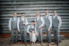 Grey Tweed Waistcoat Bow Tie Groomsmen Pretty Pink Country Cricket Horse Wedding http://andrewbrannanphotography.co.uk/