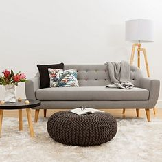 With smooth contours and vintage attitude, the Maja 2 Seater Sofa, Light Grey/Multicolour from Zanui imparts mod-form charm into your living space.
