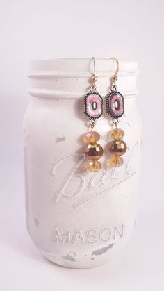 Maroon adornment with gold tone glass beaded dangle earrings
