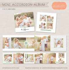 3x3 Mini Accordion Album Template - Newborn album template for photographers MA004 - INSTANT DOWNLOAD