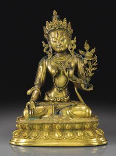 Importante Statuette de Tara Blanche en bronze doré Dynastie Qing, époque Qianlong