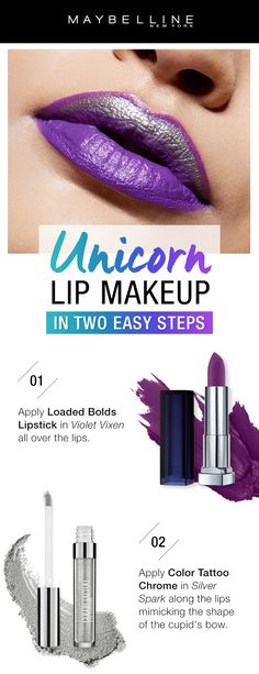 Get the unicorn lip makeup trend in just two simple steps using Maybelline products.  First, apply Loaded Bolds Lipstick in 'Violet Vixen' all over the lips for a bright purple lip base.  Next, apply Color Tattoo Chrome in 'Silver Spark' along the lips mimicking the shape of the cupid's bow for a fun, metallic pop.  Then voila! Unicorn lips that are perfect for the summer.
