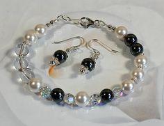 Sawrovski hematite berg crystal armband/oorbellen van Nella's Beauty's op DaWanda.com
