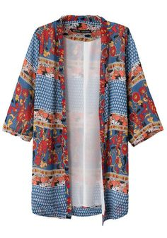 Multicolor Colorful Print Kimono