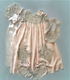 antique silk and lace baby ensemble ... dress, bib, bonnet, booties,  ca. 1917-20s