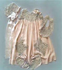 Vintage silk and lace baby ensemble: dress, bib, bonnet, booties, circa 1917-1920's.