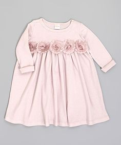 Look at this #zulilyfind! Pale Mauve Shabby Flower Babydoll Dress - Infant by Voilà Fancies #zulilyfinds