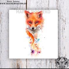 Art Drawings For Kids, Cute Animal Drawings, Animal Sketches, Amazing Drawings, Watercolor Fox Tattoos, Watercolor Logo, Small Fox Tattoo, Rockabilly Tattoos, Fuchs Tattoo