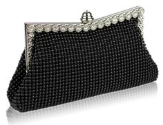 Black Mesh Bead Evening Bag. Product code LSE00139. Lining with an internal pocket. Mesh beading to both sides of the bag. Flower and diamante detail to the frame. Clasp closure with inset diamante. 2 detachable chains measuring 40cm and 120cm. Size (cm): 23 wide x 13 high x 4 deep Black Clutch Bags, Clutch Purse, Bags Uk, Black Crystals, Black Mesh, Evening Bags, Crystal Beads, Crossbody Bag, Shoulder Bag