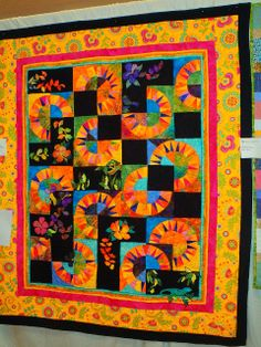 Sunrise on Spidal Pond quilt by Kath G. inspired by Linda Hahn's pattern.