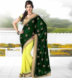 Designer Indian party wear saree online shopping with tikiwork Sequin Green & Lemon