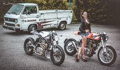 "RocketGarage Cafe Racer: ""The Orange Project"" & ""The Fireball""."