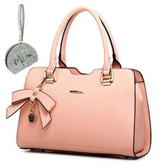 Micom 2016 Middle-sized Candy Color Bow Ol Bags Solid Pu Leather Zipper Tote Shoulder Handbags Women Bags with Micom Zipper Pouch (Pink, Medium-sized) * You can get more details by clicking on the image.