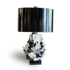 Deco Smokey Black Quartz and Calcite Table Lamp