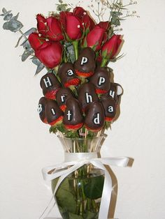Bouquet of Red Roses & Chocolate Dipped Strawberries - made it for my sisters birthday!
