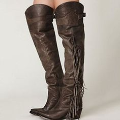 Shoespie Awesome Retro Brown Flat Knee High Combat Boots
