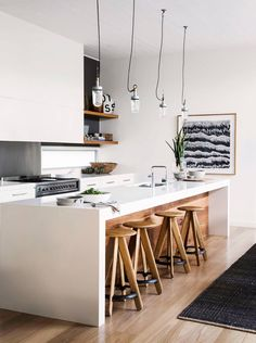 Kitchen island and wooden stools | sphere